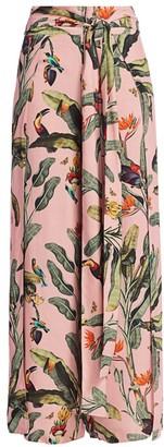 PatBO Tropical Print Tie-Waist Pants