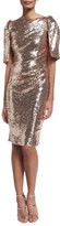 Talbot Runhof Lobata Cape-Sleeve Sequined Sheath Cocktail Dress, Rose Golden