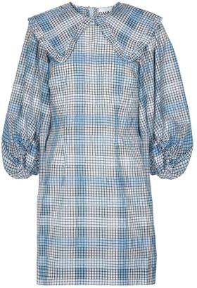 Ganni Checked cotton-blend minidress