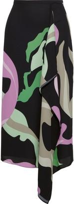 Tibi Draped Printed Crepe Midi Skirt