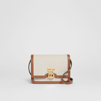 Burberry Mini Two-tone Canvas and Leather TB Bag