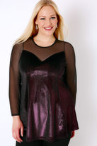Yours Clothing Black & Pink Glitter Velour Peplum Top With Mesh Sweetheart Neckline