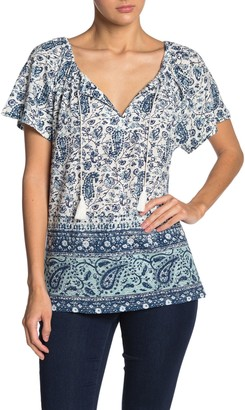 Lucky Brand Printed Tassel Knit Shirt