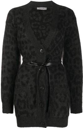 Valentino leopard pattern belted V-neck cardigan
