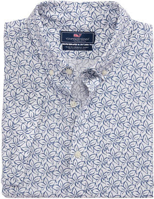 Vineyard Vines Slim Fit Linear Floral Geo Murray Short-Sleeve Button-Down Shirt