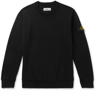 Stone Island Logo-Appliqued Garment-Dyed Fleece-Back Cotton-Jersey Sweatshirt