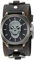 Nemesis 'Skull Head Series' Quartz Stainless Steel and Leather Watch, Color:Black (Model: KFRB935K)