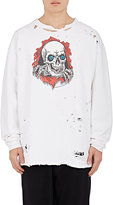 Ben Taverniti Unravel Project Men's Skeleton-Print Distressed Cotton Oversized Sweatshirt