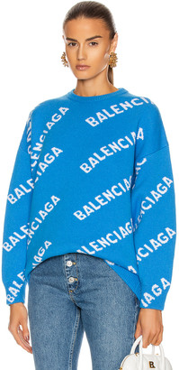 Balenciaga Long Sleeve Crew Neck Logo Sweater in Screen Blue & White | FWRD