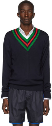 Gucci Navy Wool Web V-Neck Sweater