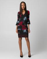 Le Château Geo Print Knit V-Neck Tunic Dress