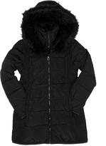 Point Zero Black Faux Fur-Trim Longline Puffer Jacket