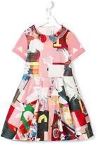 Simonetta printed organza collar dress