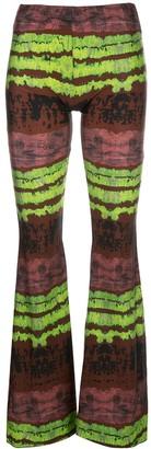 Barbara Bologna Rust-Print Flared Leggings