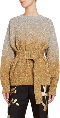 Dries Van Noten Metallic Ombre Belted Sweater