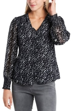 1 STATE Printed Smocked Button-Front Blouse