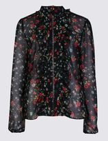 Marks and Spencer Collared Neck Ditsy Print Blouse
