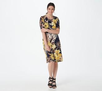 Susan Graver Printed Liquid Knit Elbow-Sleeve Dress w/Pockets
