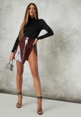 Missguided Burgundy Vinyl Wrap Mini Skirt