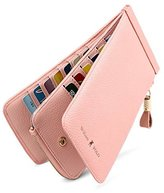 William POLO Women's Genuine Leather Zipper Slim Wallet Long Style Clutch Bag Handbag Multi Credit Card Holder Checkbook Purse Money Clips for Women POLO116 Pink