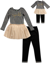 Dollie & Me Black & Gold 'Sparkle' Tunic Set & Doll Outfit - Girls