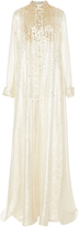Carolina Herrera Gold Embellished Long Sleeve Caftan
