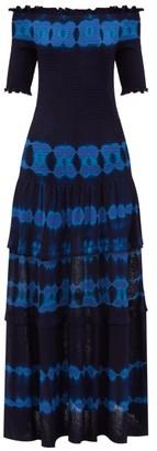 Altuzarra Ayaka Off-the-shoulder Shirred Dyed Dress - Blue Print