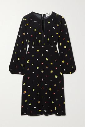 Diane von Furstenberg Andrea Printed Crepe Dress - Black