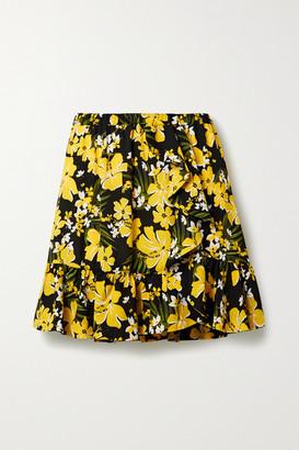 MICHAEL Michael Kors Bold Bliss Ruffled Floral-print Crepe Mini Skirt - Yellow