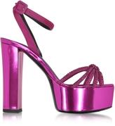 Giuseppe Zanotti Lavinia Fuchsia Metallic Leather Platform Sandal