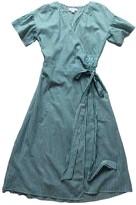Velvet Green Cotton Dress for Women