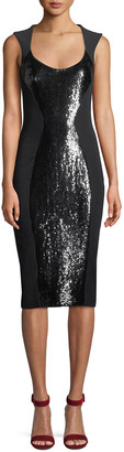 Michael Kors Scoop-Neck Sequin Stretch-Cady Sheath Dress