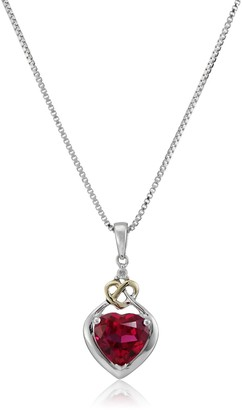 """Amazon Collection Love Knot Sterling Silver and 14k Yellow Gold Diamond and Heart-Shaped Created Ruby Pendant Necklace 18"""""""