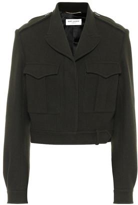 Saint Laurent Cropped wool gabardine jacket