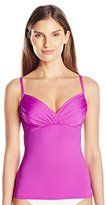 Badgley Mischka Women's Shirred Underwire Tankini