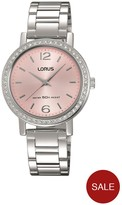 Lorus Pink Sunray Dial Stainless Steel Ladies Watch