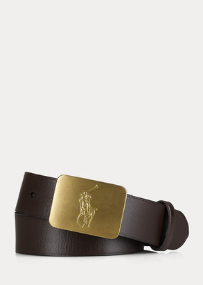 Ralph Lauren Big Pony-Buckle Leather Belt