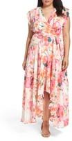 Eliza J Plus Size Women's Print Faux Wrap Maxi Dress