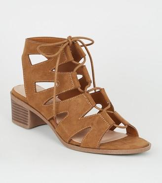 New Look Wide Fit Suedette Block Heel Ghillie Sandals