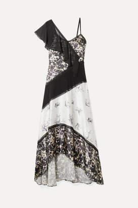 Jason Wu Chiffon-trimmed Floral-print Silk-satin Maxi Dress - Black