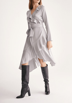 Paisie Satin Wrap Dress with Frills and Self Belt in Silver