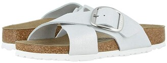 Birkenstock Siena Big Buckle (Washed Metallic White Leather) Women's Shoes