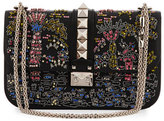 Valentino Medium Beaded Rockstud Chain Shoulder Bag, Black