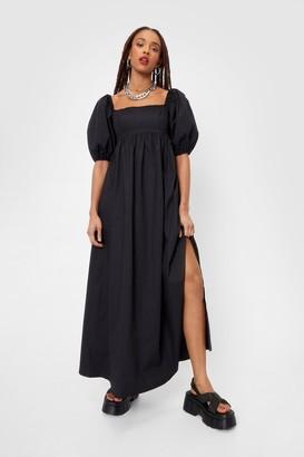 Nasty Gal Womens Shirred Back Puff Sleeve Poplin Maxi Dress - Black - 4