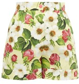 Dolce & Gabbana Floral-print Cotton Shorts - Womens - Yellow Print