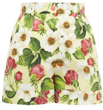 Dolce & Gabbana Floral-print Cotton Shorts - Womens - Yellow Print