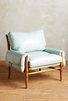 Anthropologie Premium Leather Rhys Ottoman