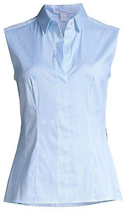 HUGO BOSS Bashiva Poplin Striped Sleeveless Blouse