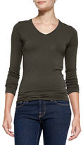 Neiman Marcus Majestic Paris for Soft Touch Long-Sleeve V-Neck Tee