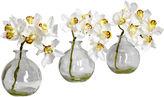 Asstd National Brand Nearly Natural Set of 3 Faux-Silk Cymbidium Flower Arrangements with Vase